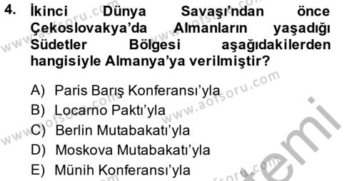 Türk Dış Politikası 1 Dersi 2014 - 2015 Yılı Dönem Sonu Sınavı 4. Soru