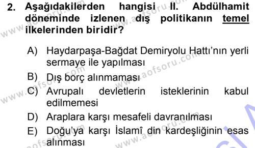 Uluslararası İlişkiler Bölümü 7. Yarıyıl Türk Dış Politikası I Dersi 2016 Yılı Güz Dönemi Ara Sınavı 2. Soru