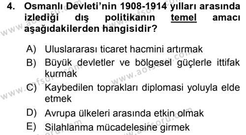 Uluslararası İlişkiler Bölümü 7. Yarıyıl Türk Dış Politikası I Dersi 2016 Yılı Güz Dönemi Ara Sınavı 4. Soru