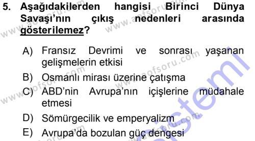 Uluslararası İlişkiler Bölümü 7. Yarıyıl Türk Dış Politikası I Dersi 2016 Yılı Güz Dönemi Ara Sınavı 5. Soru