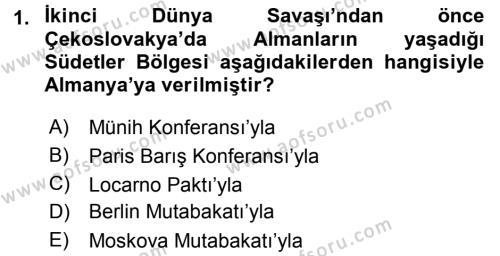 Uluslararası İlişkiler Bölümü 7. Yarıyıl Türk Dış Politikası I Dersi 2016 Yılı Güz Dönemi Dönem Sonu Sınavı 1. Soru