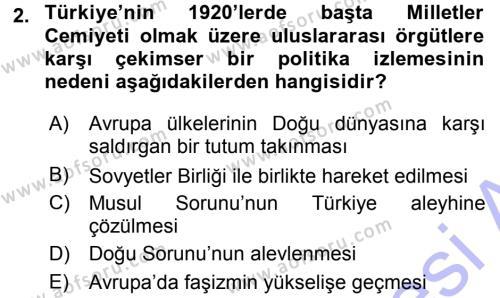 Türk Dış Politikası 1 Dersi 2015 - 2016 Yılı (Final) Dönem Sonu Sınav Soruları 2. Soru