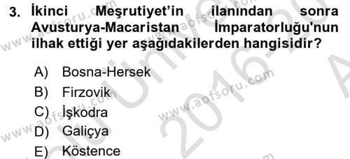 Türk Dış Politikası 1 Dersi 2016 - 2017 Yılı (Vize) Ara Sınav Soruları 3. Soru