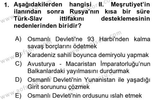 Türk Dış Politikası 1 Dersi 2018 - 2019 Yılı (Vize) Ara Sınav Soruları 1. Soru