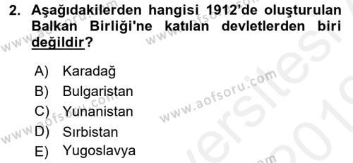 Türk Dış Politikası 1 Dersi 2018 - 2019 Yılı (Vize) Ara Sınav Soruları 2. Soru