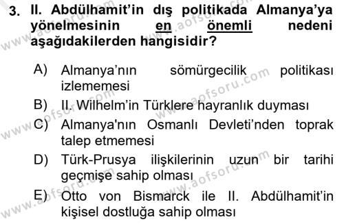 Türk Dış Politikası 1 Dersi 2018 - 2019 Yılı (Vize) Ara Sınav Soruları 3. Soru