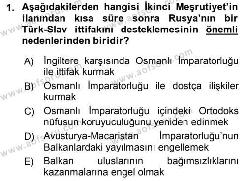 Türk Dış Politikası 1 Dersi 2018 - 2019 Yılı (Final) Dönem Sonu Sınav Soruları 1. Soru