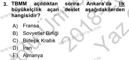 Türk Dış Politikası 1 Dersi 2018 - 2019 Yılı Yaz Okulu Sınav Soruları 3. Soru