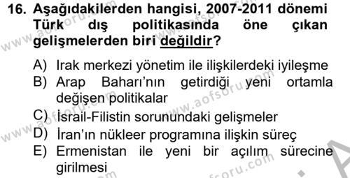 Türk Dış Politikası 2 Dersi Dönem Sonu Sınavı Deneme Sınav Soruları 16. Soru