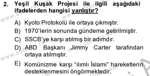 Uluslararası İlişkiler Bölümü 8. Yarıyıl Türk Dış Politikası II Dersi 2014 Yılı Bahar Dönemi Ara Sınavı 2. Soru
