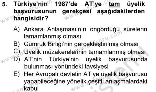 Uluslararası İlişkiler Bölümü 8. Yarıyıl Türk Dış Politikası II Dersi 2014 Yılı Bahar Dönemi Tek Ders Sınavı 5. Soru