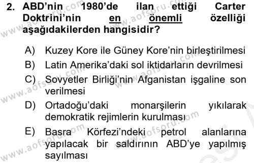 Türk Dış Politikası 2 Dersi 2015 - 2016 Yılı (Vize) Ara Sınav Soruları 2. Soru