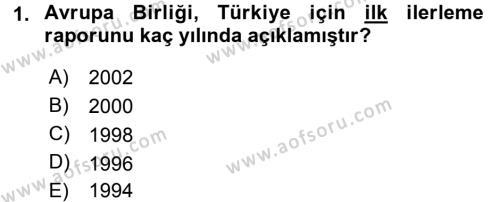 Türk Dış Politikası 2 Dersi 2015 - 2016 Yılı Tek Ders Sınav Soruları 1. Soru