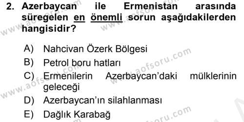 Türk Dış Politikası 2 Dersi 2015 - 2016 Yılı Tek Ders Sınav Soruları 2. Soru