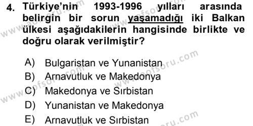 Türk Dış Politikası 2 Dersi 2015 - 2016 Yılı Tek Ders Sınav Soruları 4. Soru