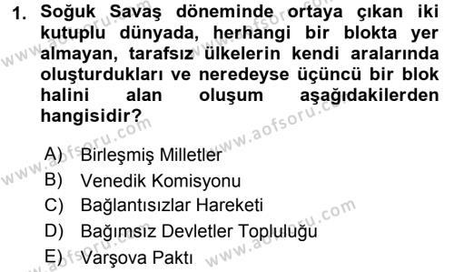 Türk Dış Politikası 2 Dersi 2016 - 2017 Yılı (Vize) Ara Sınav Soruları 1. Soru