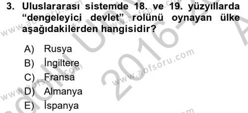 Türk Dış Politikası 2 Dersi 2016 - 2017 Yılı (Vize) Ara Sınav Soruları 3. Soru