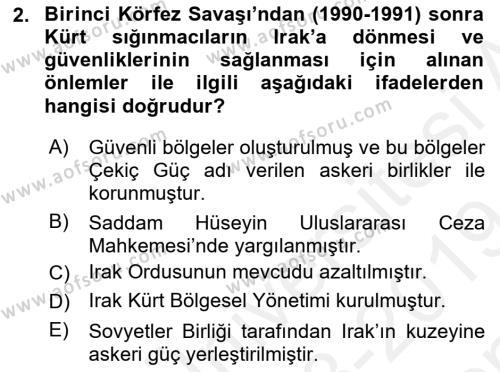 Türk Dış Politikası 2 Dersi 2018 - 2019 Yılı (Final) Dönem Sonu Sınav Soruları 2. Soru