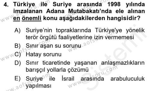 Türk Dış Politikası 2 Dersi 2018 - 2019 Yılı (Final) Dönem Sonu Sınav Soruları 4. Soru
