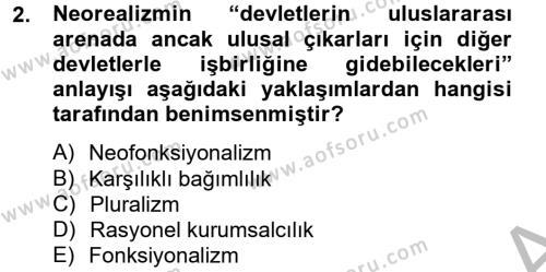 Uluslararası İlişkiler Kuramları 2 Dersi 2012 - 2013 Yılı (Final) Dönem Sonu Sınav Soruları 2. Soru