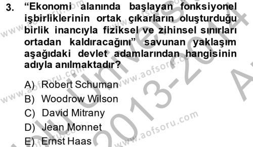 Uluslararası İlişkiler Kuramları 2 Dersi 2013 - 2014 Yılı Ara Sınavı 3. Soru