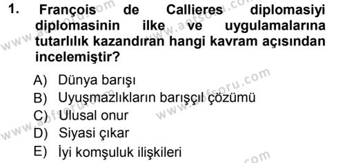 Diplomasi Tarihi Dersi 2012 - 2013 Yılı Ara Sınavı 1. Soru