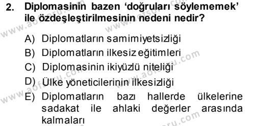 Diplomasi Tarihi Dersi 2013 - 2014 Yılı Ara Sınavı 2. Soru