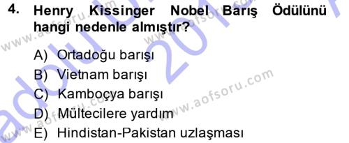 Diplomasi Tarihi Dersi 2013 - 2014 Yılı Ara Sınavı 4. Soru