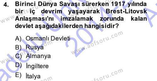 Diplomasi Tarihi Dersi 2014 - 2015 Yılı (Vize) Ara Sınav Soruları 4. Soru