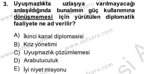 Diplomasi Tarihi Dersi 2014 - 2015 Yılı Tek Ders Sınav Soruları 3. Soru