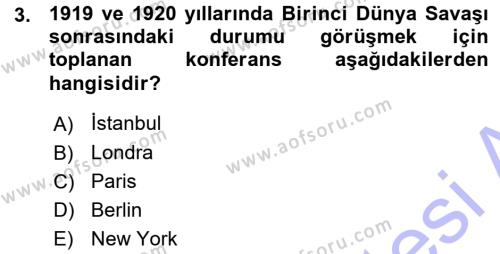 Diplomasi Tarihi Dersi 2015 - 2016 Yılı Ara Sınavı 3. Soru