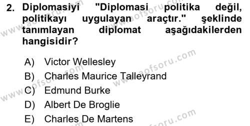 Diplomasi Tarihi Dersi 2018 - 2019 Yılı 3 Ders Sınav Soruları 2. Soru