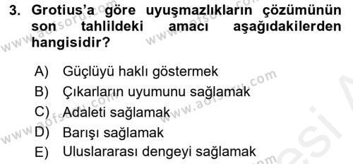 Diplomasi Tarihi Dersi 2018 - 2019 Yılı (Vize) Ara Sınav Soruları 3. Soru