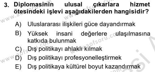 Diplomasi Tarihi Dersi 2019 - 2020 Yılı (Vize) Ara Sınav Soruları 3. Soru