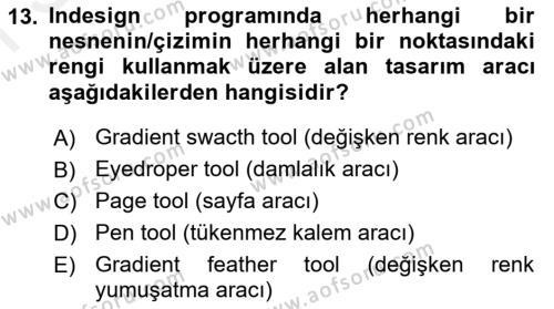 Web Grafik Tasarımı Dersi Dönem Sonu Sınavı Deneme Sınav Soruları 13. Soru
