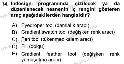 Web Grafik Tasarımı Dersi Dönem Sonu Sınavı Deneme Sınav Soruları 14. Soru