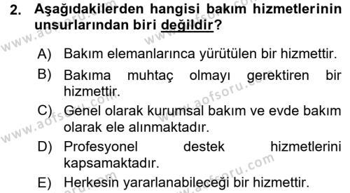 Bakım Elemanı Yetiştirme Ve Geliştirme 1 Dersi 2015 - 2016 Yılı Ara Sınavı 2. Soru