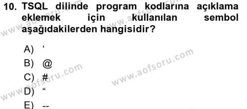 Veritabanı Programlama Dersi Ara Sınavı Deneme Sınav Soruları 10. Soru