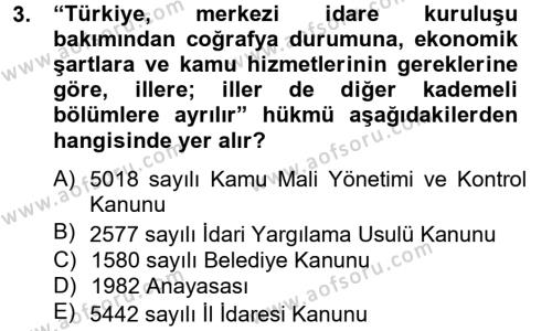 Sosyal Hizmet Bölümü 8. Yarıyıl Yerel Yönetimler Dersi 2013 Yılı Bahar Dönemi Ara Sınavı 3. Soru