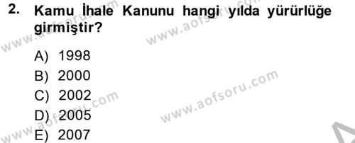Yerel Yönetimler Dersi 2013 - 2014 Yılı Dönem Sonu Sınavı 2. Soru