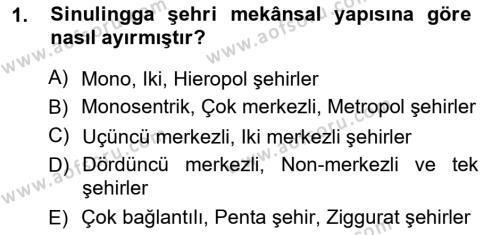 Emlak ve Emlak Yönetimi Bölümü 3. Yarıyıl Şehircilik Dersi 2013 Yılı Güz Dönemi Ara Sınavı 1. Soru