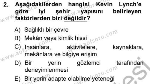 Emlak ve Emlak Yönetimi Bölümü 3. Yarıyıl Şehircilik Dersi 2013 Yılı Güz Dönemi Ara Sınavı 2. Soru