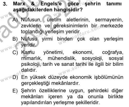 Emlak ve Emlak Yönetimi Bölümü 3. Yarıyıl Şehircilik Dersi 2013 Yılı Güz Dönemi Ara Sınavı 3. Soru