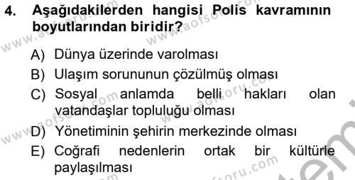 Emlak ve Emlak Yönetimi Bölümü 3. Yarıyıl Şehircilik Dersi 2013 Yılı Güz Dönemi Ara Sınavı 4. Soru