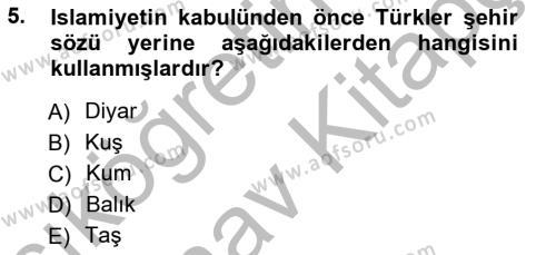 Emlak ve Emlak Yönetimi Bölümü 3. Yarıyıl Şehircilik Dersi 2013 Yılı Güz Dönemi Ara Sınavı 5. Soru