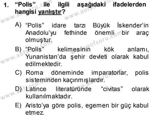 Yerel Yönetimler Bölümü 3. Yarıyıl Şehircilik Dersi 2014 Yılı Güz Dönemi Ara Sınavı 1. Soru
