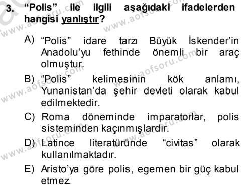 Emlak ve Emlak Yönetimi Bölümü 3. Yarıyıl Şehircilik Dersi 2014 Yılı Güz Dönemi Tek Ders Sınavı 3. Soru