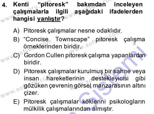 Yerel Yönetimler Bölümü 3. Yarıyıl Şehircilik Dersi 2015 Yılı Güz Dönemi Ara Sınavı 4. Soru
