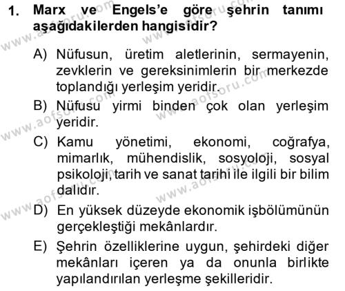 Emlak ve Emlak Yönetimi Bölümü 3. Yarıyıl Şehircilik Dersi 2015 Yılı Güz Dönemi Dönem Sonu Sınavı 1. Soru