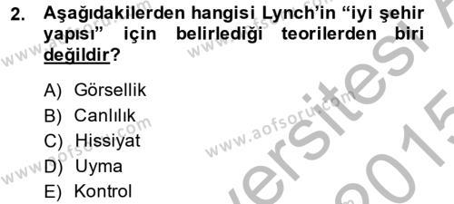 Emlak ve Emlak Yönetimi Bölümü 3. Yarıyıl Şehircilik Dersi 2015 Yılı Güz Dönemi Dönem Sonu Sınavı 2. Soru